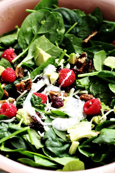 Raspberry Avocado Spinach Salad with Poppy Seed Dressing