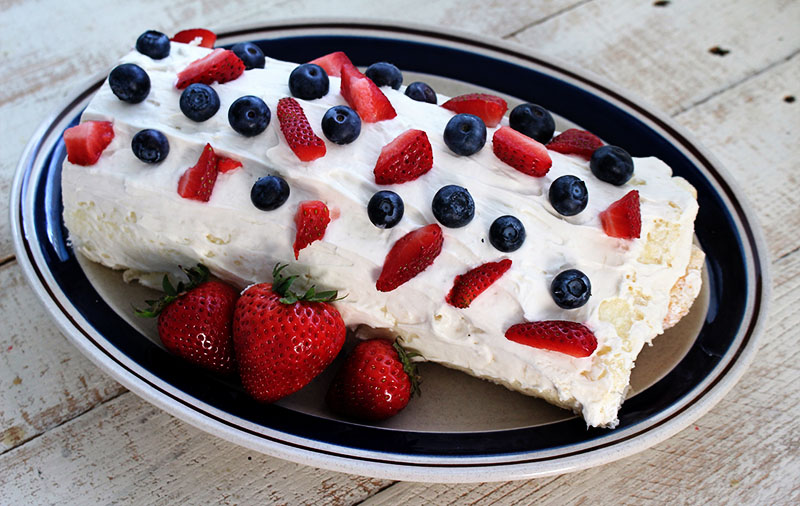 Triple Berry Angel Food Cake Roll