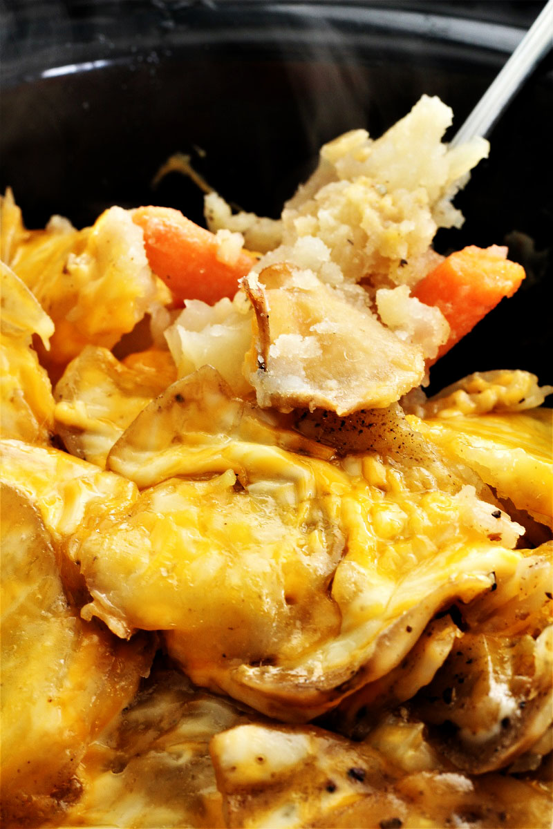 Crock Pot Cheesy Potatoes and Carrots