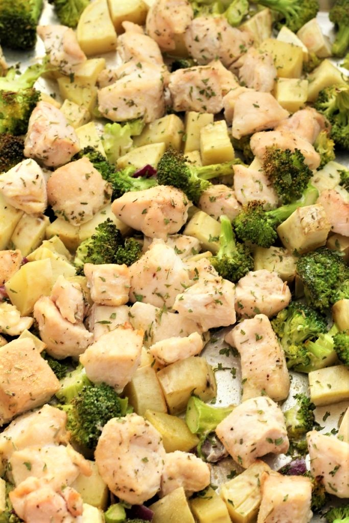 Chicken Broccoli and Sweet Potato Sheet Pan Dinner
