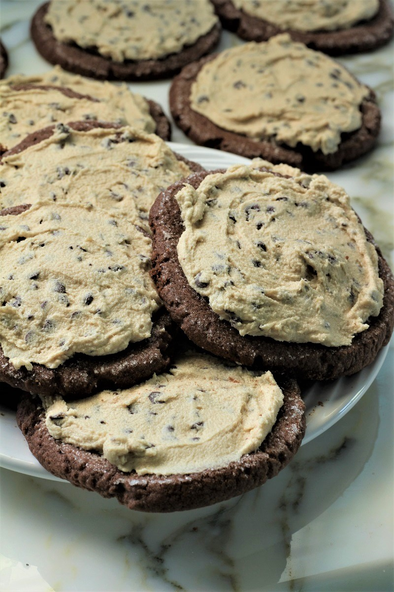 Chocolate Swig Cookies with Cookie Dough Frosting