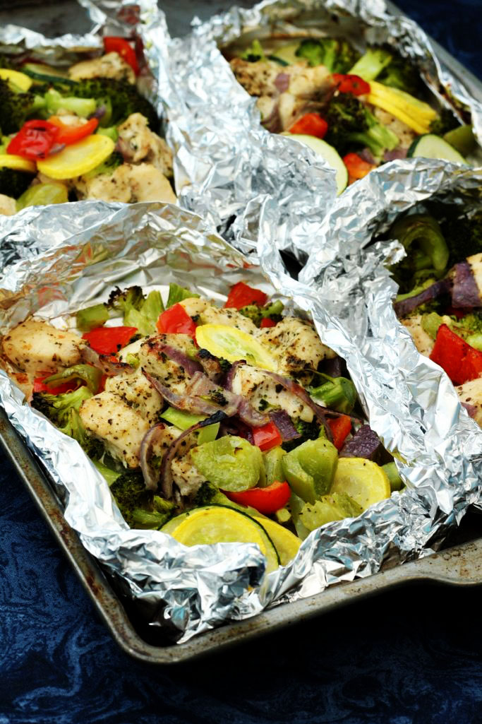 Easy Italian Chicken and Veggies Foil Dinners
