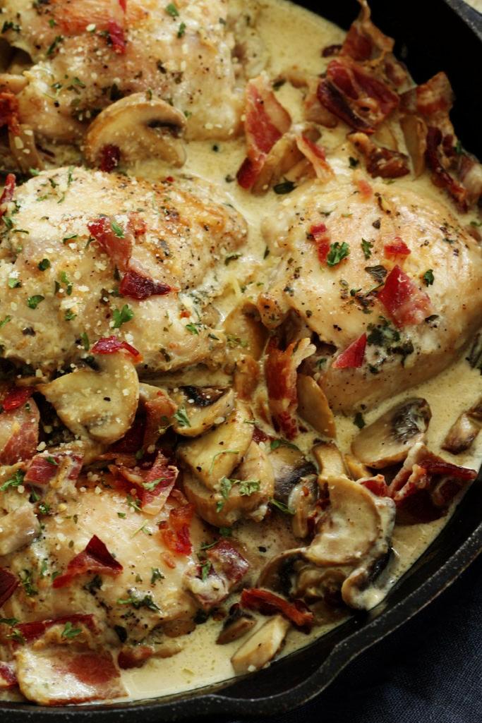Creamy Parmesan Mushroom Chicken With Bacon