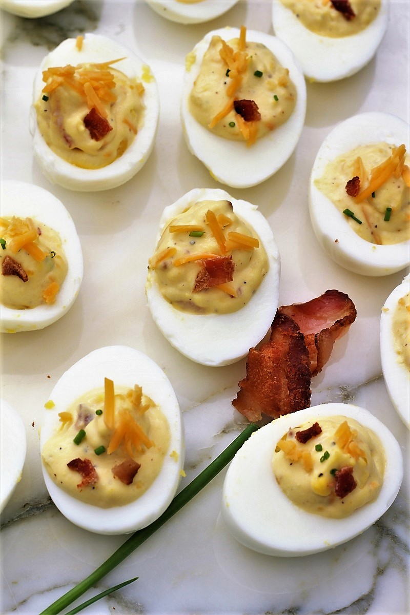 Deviled Eggs with Bacon and Cheddar Cheese
