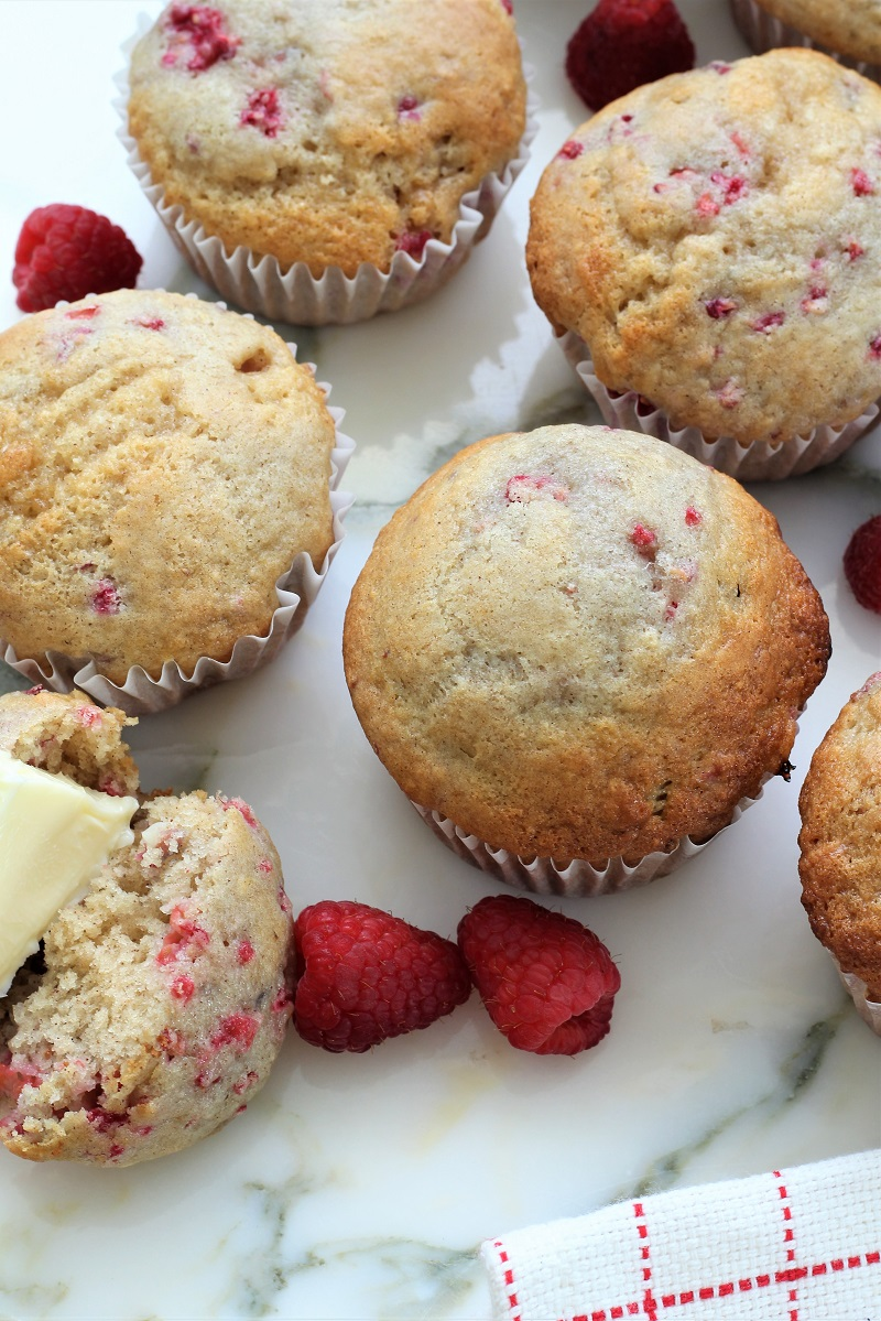 Easy Raspberry Almond Muffins