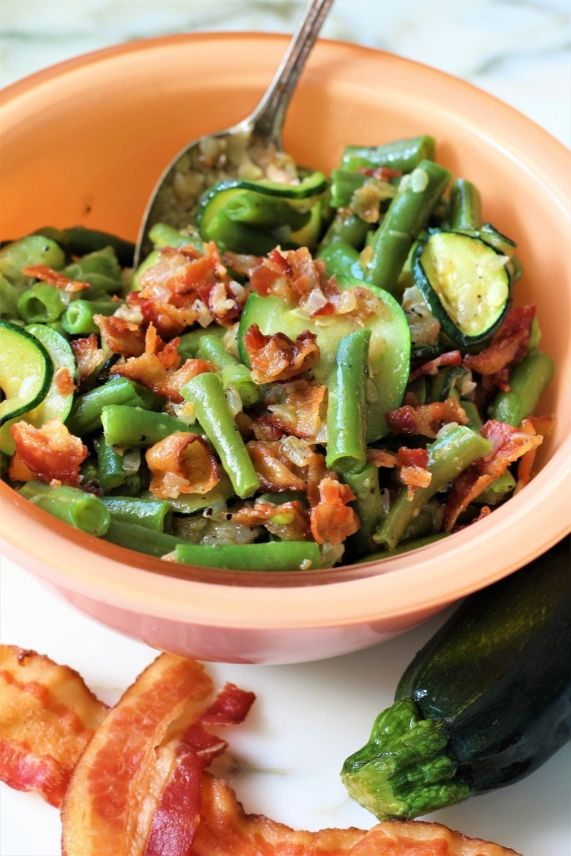 Green Beans and Zucchini with Bacon