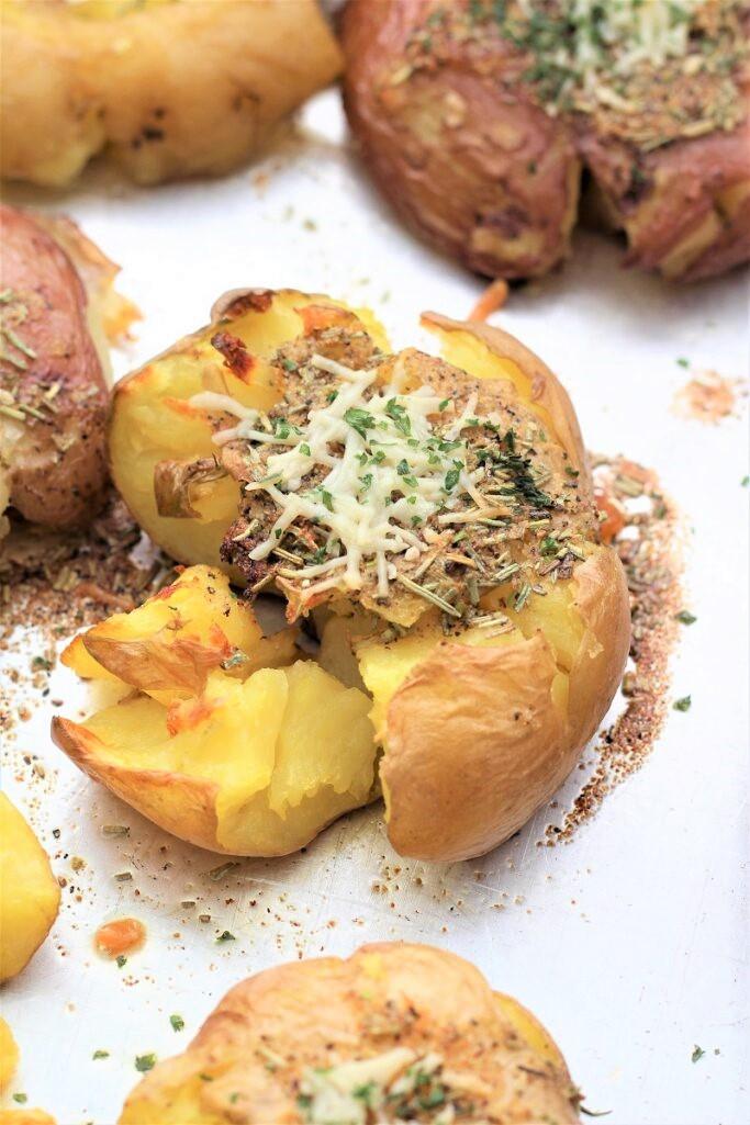 Garlic Herb Smashed Potatoes